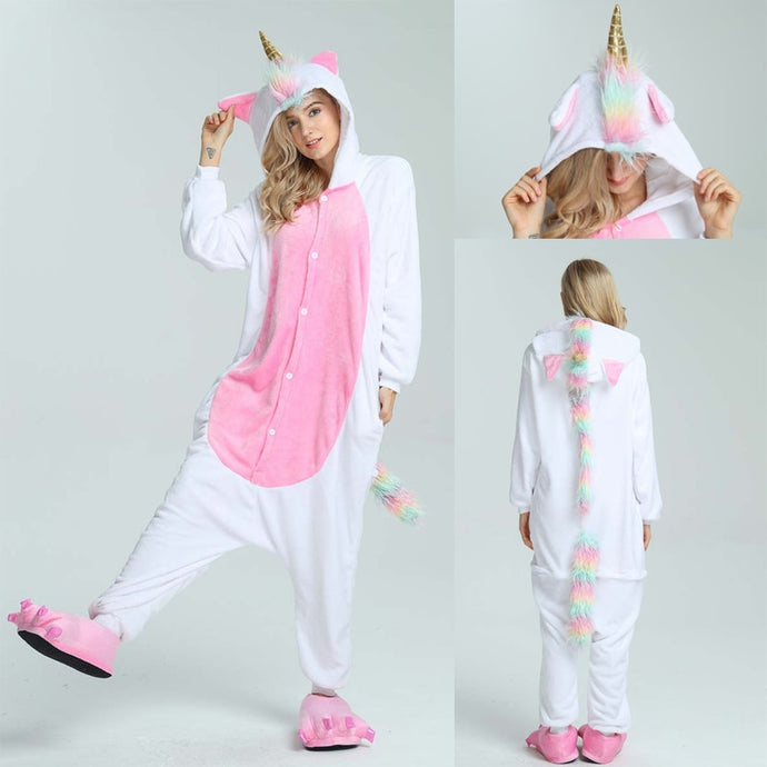 Adults Animal Pajamas Sets Cartoon Sleepwear Unicorn Onesies