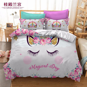 Cartoon Birthday Party Unicorn Bedding Set
