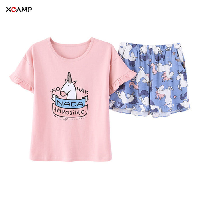 Women Sleepwear 2019 New Arrivals Two Pieces Sweet Unicorn Pajamas