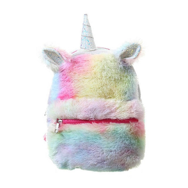 Backpack Student Toddler Sequins Unicorn Bag Women Girls Backpacks Rucksack For Teenager Plush Cartoon Schoolbags Travel Bagpack