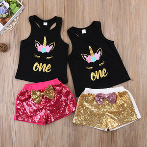 Girls Clothes Unicorn T-shirt Tops  Shorts