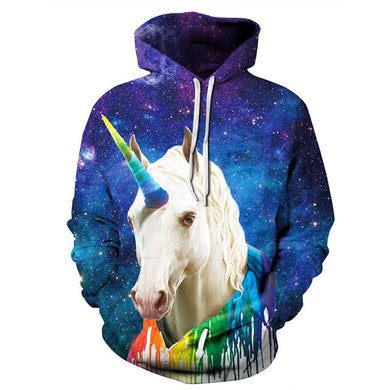 Pullovers 3D Print Hoodies Men Women Unicorn Sweatshirt With Hood