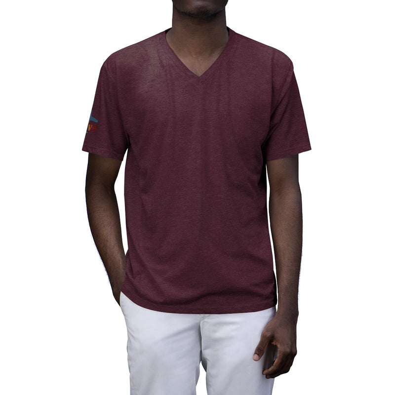The Westside: Men's Tri-Blend V-Neck T-Shirt, Logo On Back and Right Sleeve