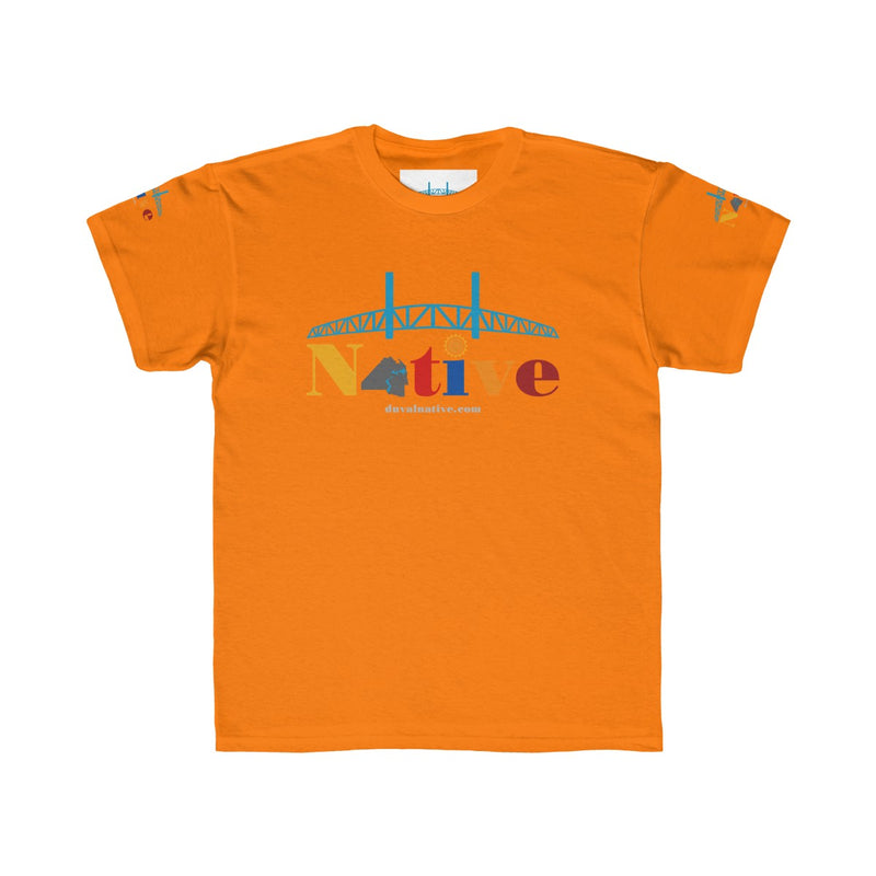 Kids Regular Fit Tee. Logo on front, back and sleeves.