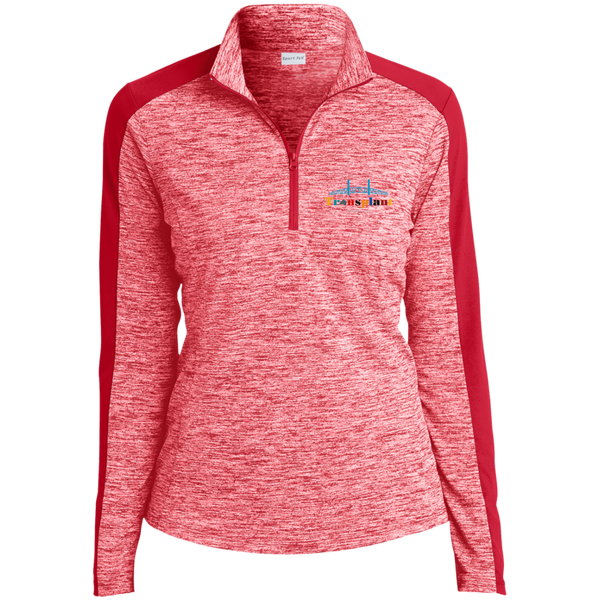 LST397 Sport-Tek Ladies' Electric Heather Colorblock 1/4-Zip Pullover