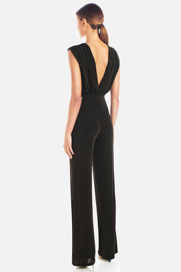 Model wears Adrienne straight leg backless pantsuit in colour black