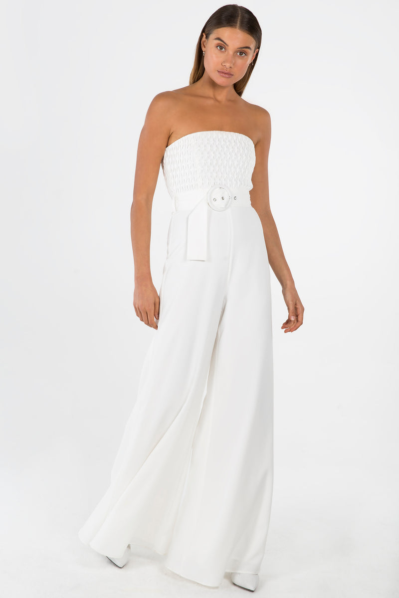 ALEYNA IVORY STRAPLESS JUMPSUIT