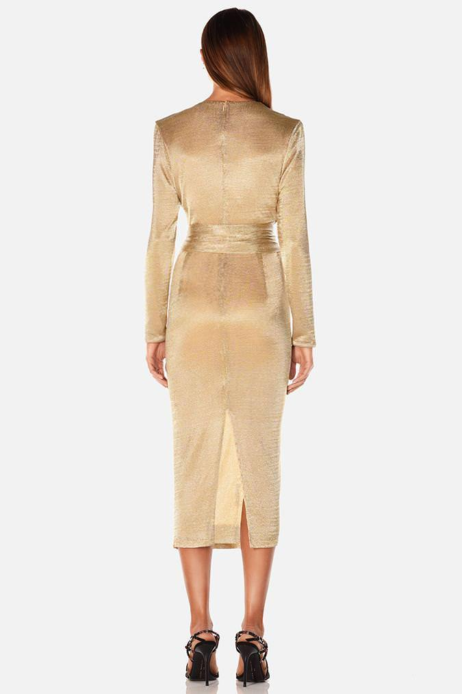 Model wears Amira midi long sleeve tie waist mesh dress in colour gold
