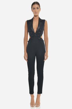 Model wears Angela Pantsuit in colour black