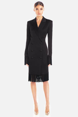 Model wears Aspen tassel blazer dress in colour black