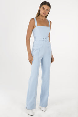 Model wears Aviana pantsuit in colour powder blue
