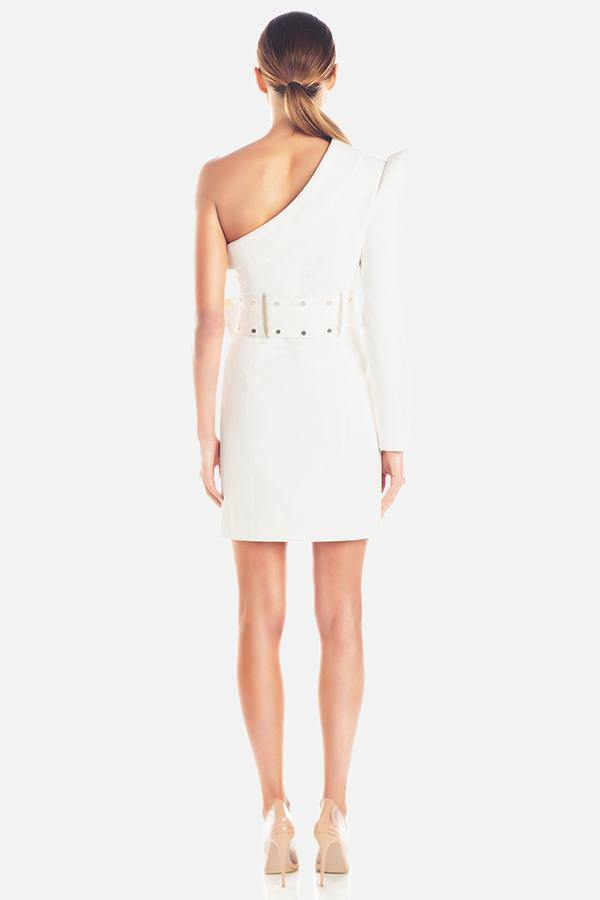 Model wears Bonnie Studded one structured shoulder mini dress in colour ivory