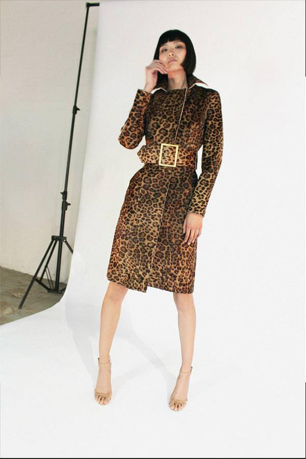 Model wears Briley leather coat with pony hair in colour leopard leather