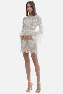 Model wears Candice lace long sleeve backless mini dress in colour ivory