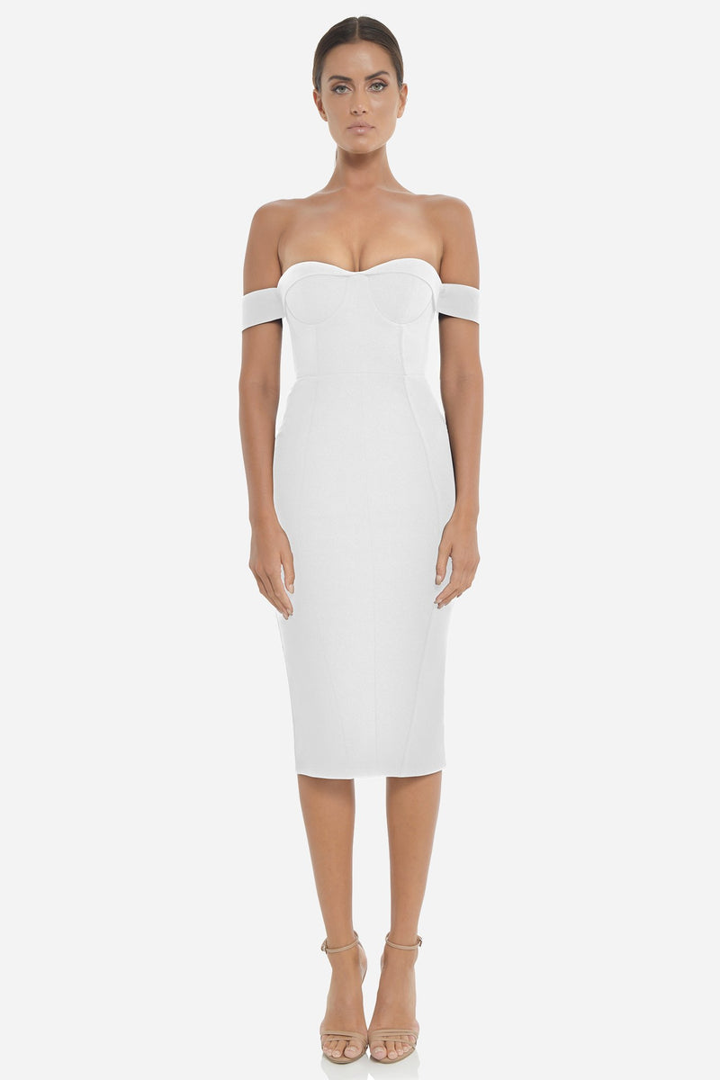 Model wears the Chloe midi dress in the colour ivory