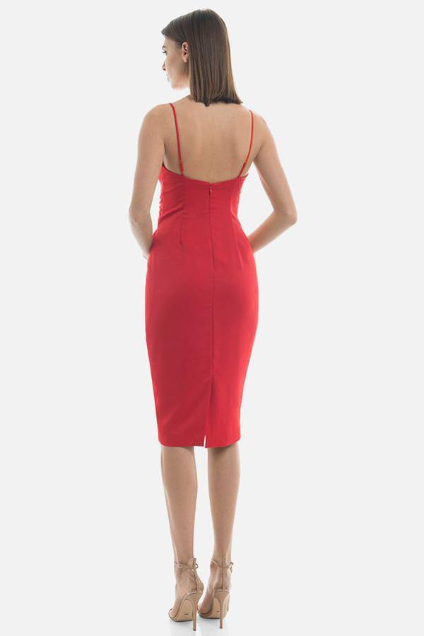Model wears Danielle midi dress with tie waist in colour red