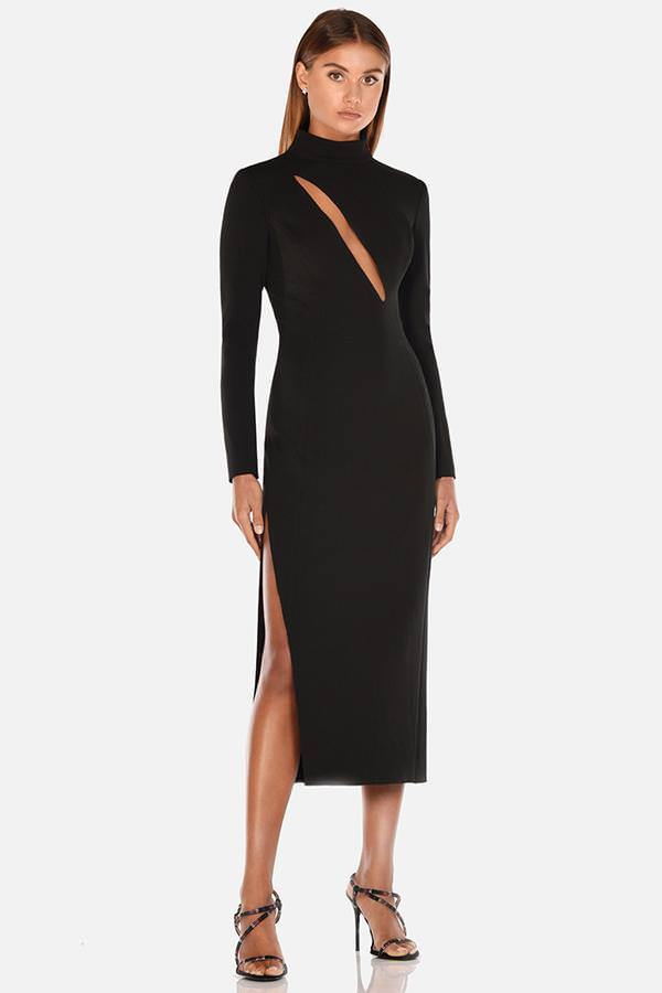Model wears Daphne long sleeve with leg split midi dress in colour black