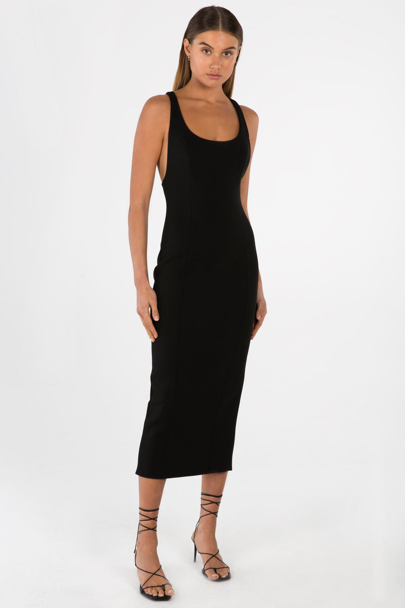 Model wears Draya midi dress with racerback in colour black