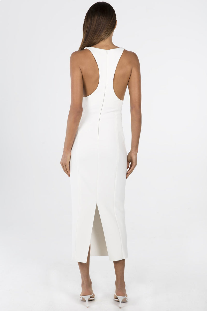 Model wears Draya midi dress in colour ivory with racerback