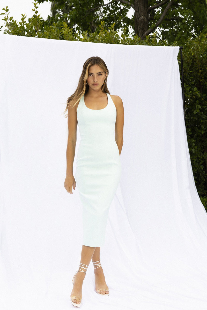 Model wears Draya midi dress in colour mint