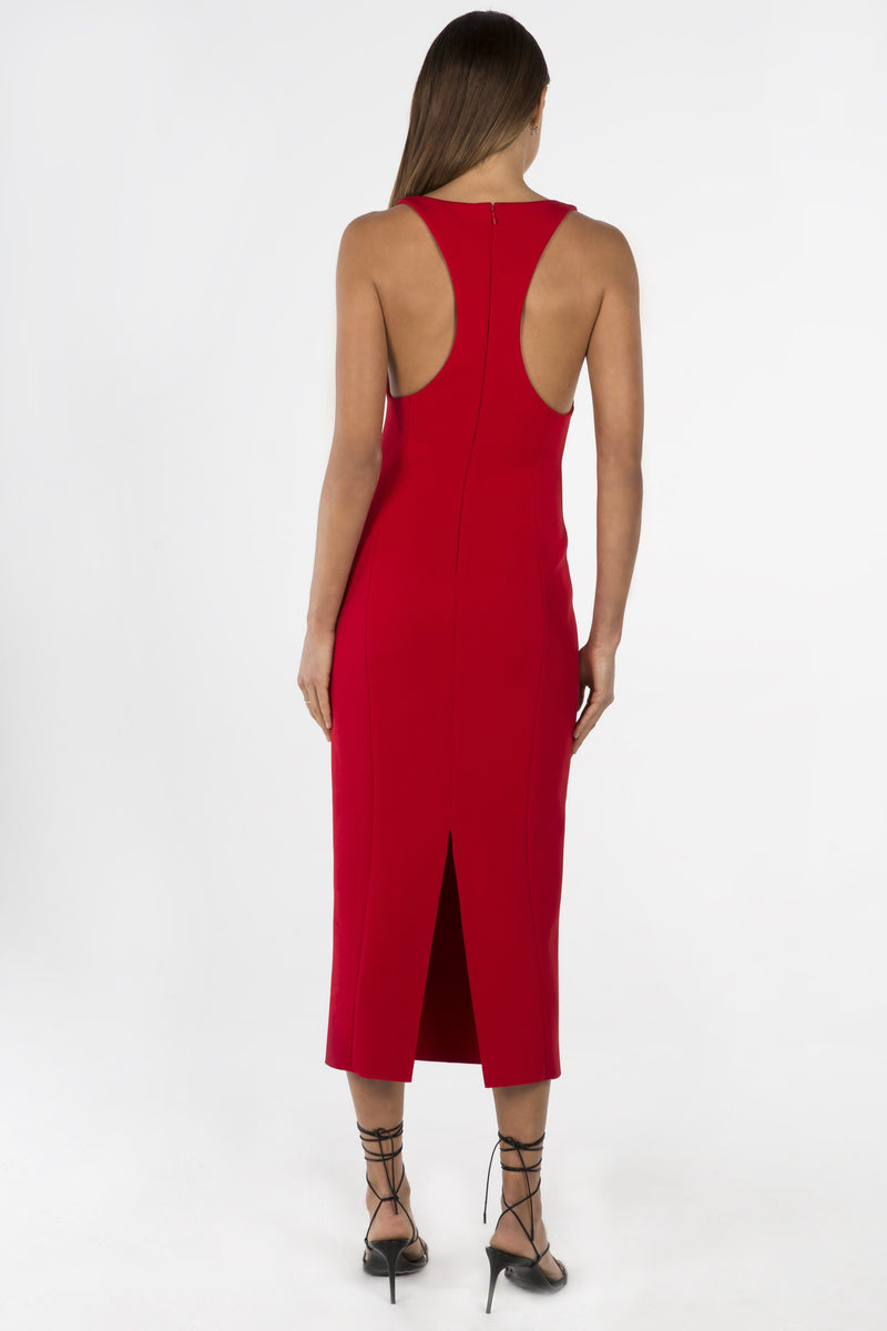 Model wears Draya midi dress in colour red