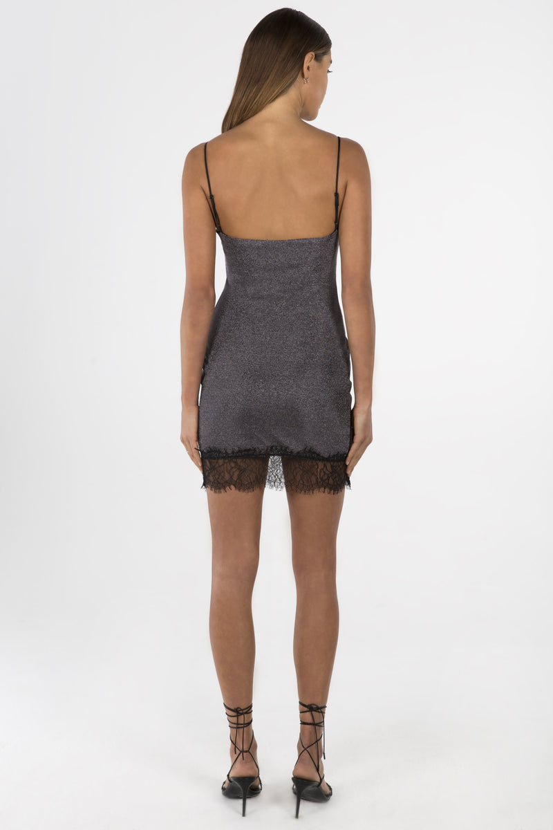 Model wears Elloise mini dress in colour gunmetal