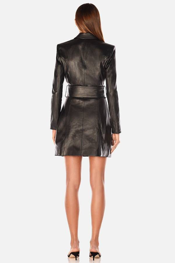 Model wears Ember blazer leather mini dress in colour black