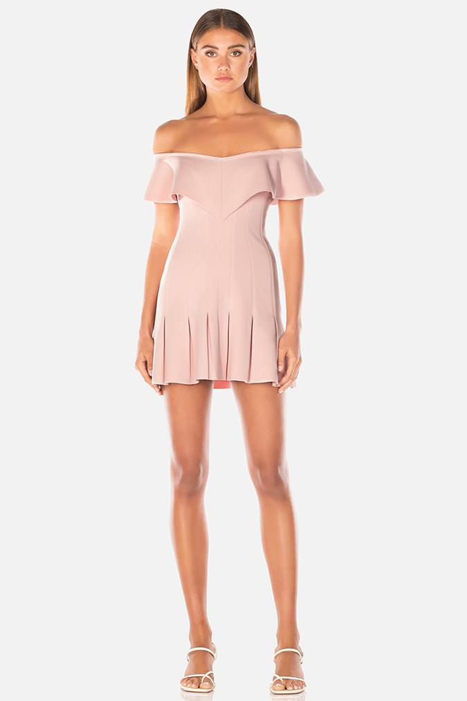 Electra off shoulder pink mini dress with ruffle worn by model