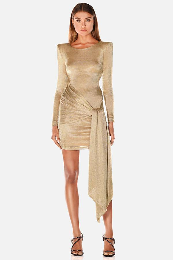 Model wearing Sahara mini tie waist mesh long sleeve dress in gold