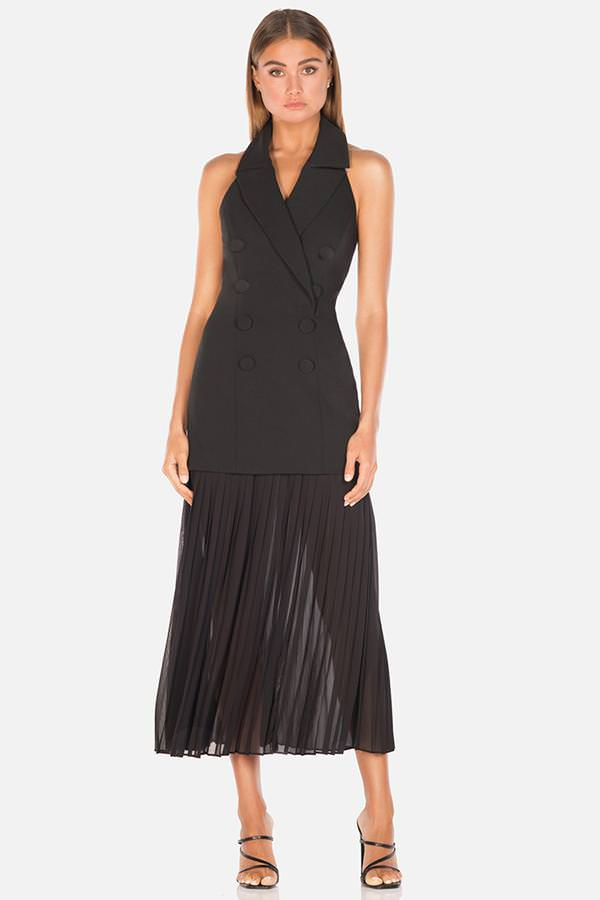 Model wears Sammiah Midi halter blazer dress in Black with sheer pleated skirt