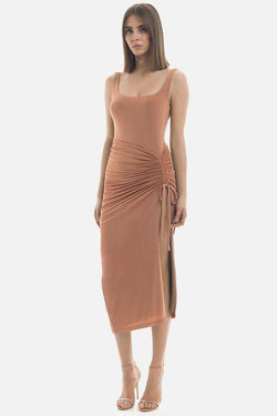 Model wears Jacynta midi backless dress with side adjustable ruching in colour bronze