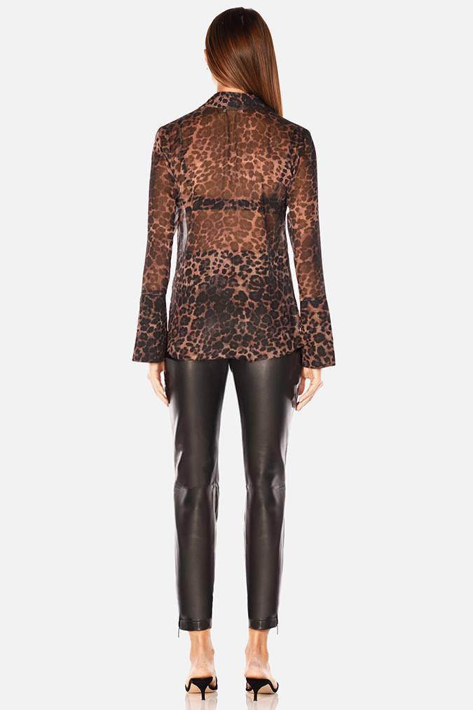 Model wears Jaimee leopard sheer long sleeve shirt in colour leopard