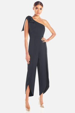 Model wears Joanna one shoulder tulip pant pantsuit in colour black