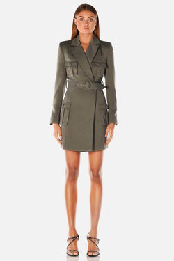 Model wearing Jona blazer mini dress in colour khaki