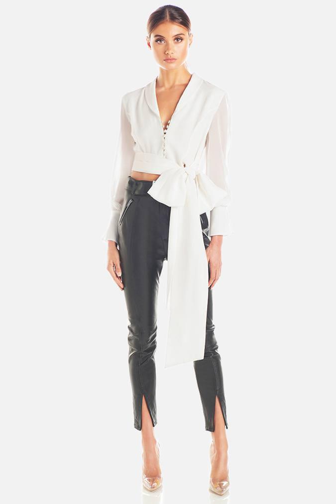 Model wears Julianna tie wrap long sleeve top in colour ivory