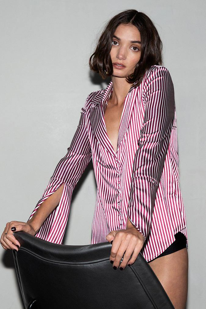 Model wears Katy stripe shirt in colour plum stripe