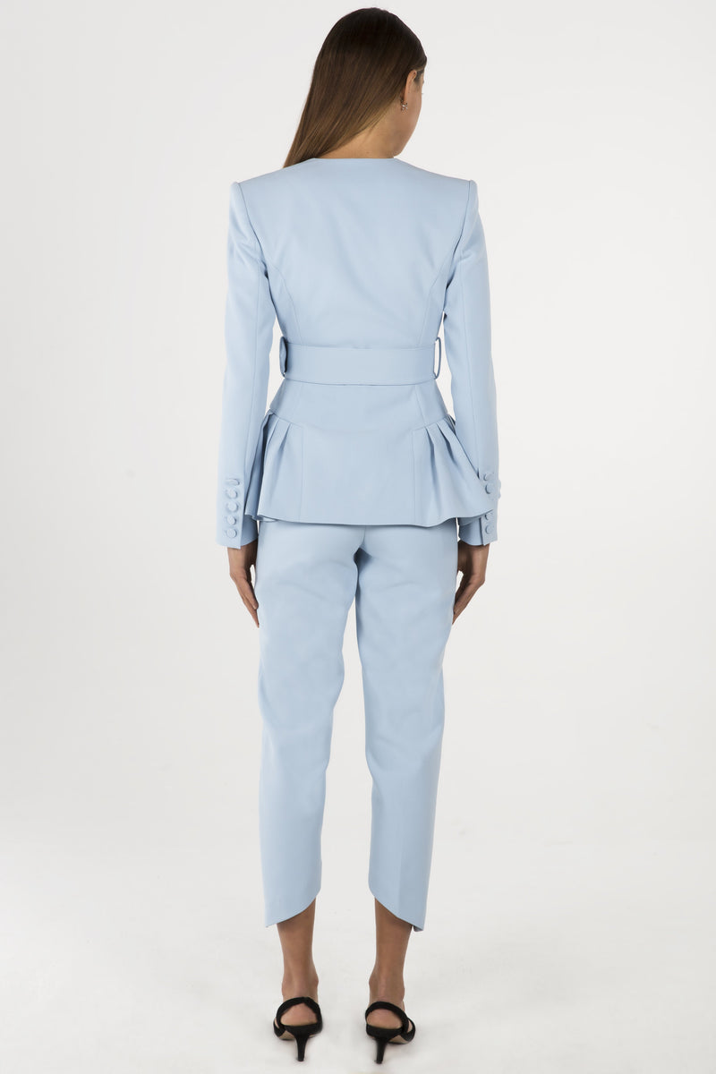 Model wears Linnea slack pant in colour powder blue