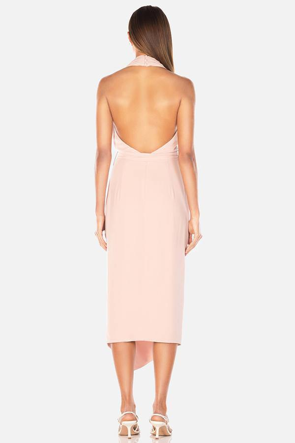 Model wears Lorena midi tie waist leg split backless dress in colour blush