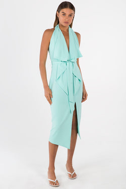 Model wears Lorena midi backless dress in colour mint