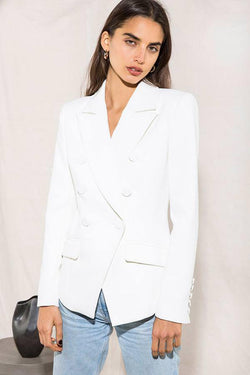 Model wears Lyndall blazer with pockets in colour ivory