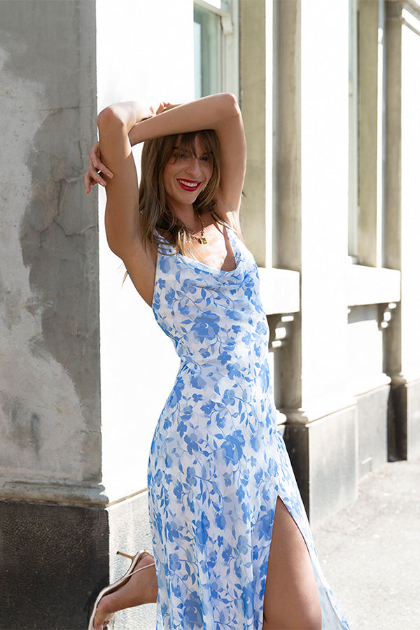 Model wears Miriam midi slip dress in colour blue floral