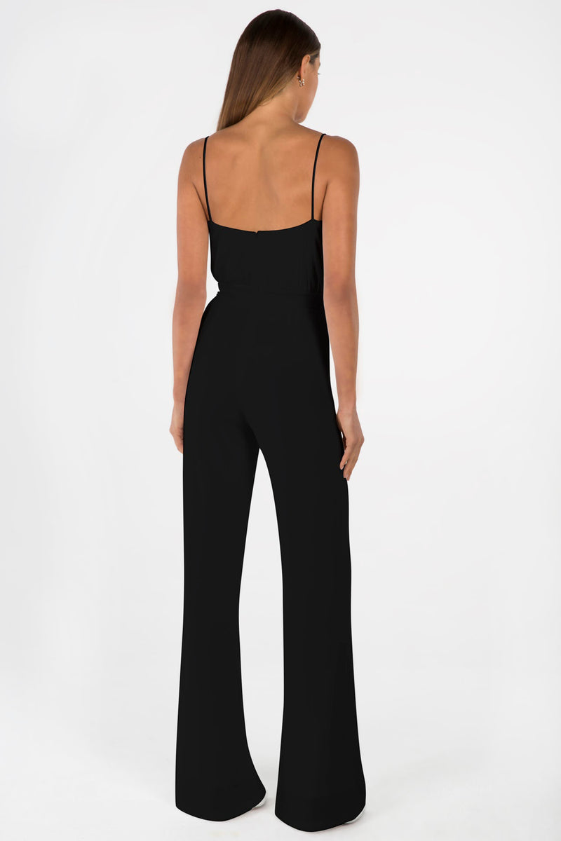 Model wears Moyra pantsuit in colour black