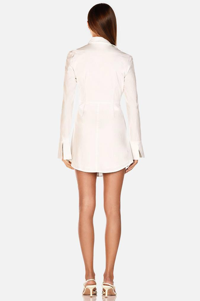 Model wears Mya shirt long sleeve tie waist mini dress in colour ivory