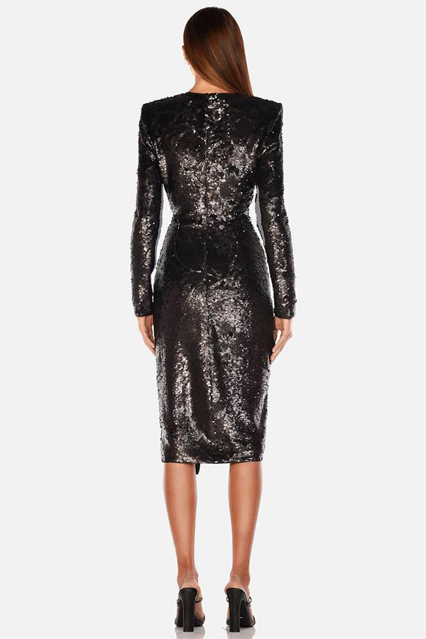 Model wearing Neaky sequin midi long sleeve wrap leg slit dress in colour black