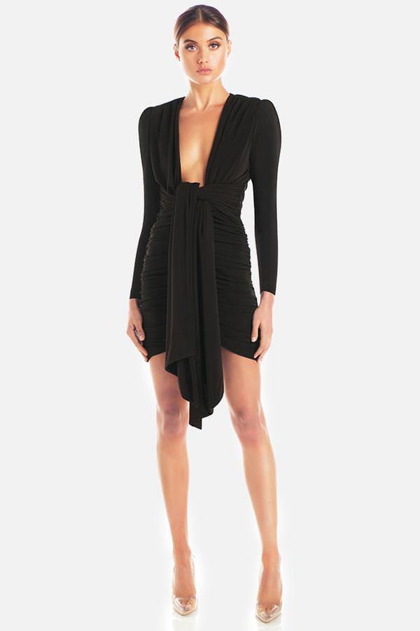 Model wears Paola long sleeve ruched tie waist mini dress in colour black