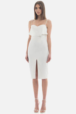 Model wears Porchia Midi dress with front split in colour ivory