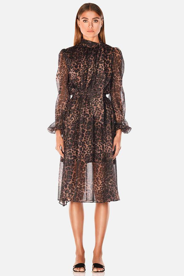 Model wears Sofia sheer high neck long sleeve midi dress in colour leopard
