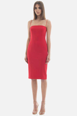 Model wearing Sophie midi dress in colour red