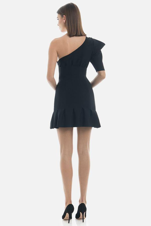 Model wears Soraya bandage one structured shoulder pleated mini dress in colour black