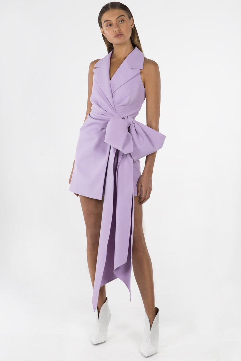 Model wears Varsha blazer dress in colour lilac